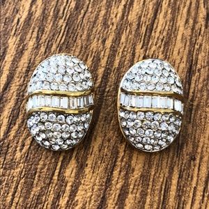 Jewelry - Gold tone and crystal clip earrings